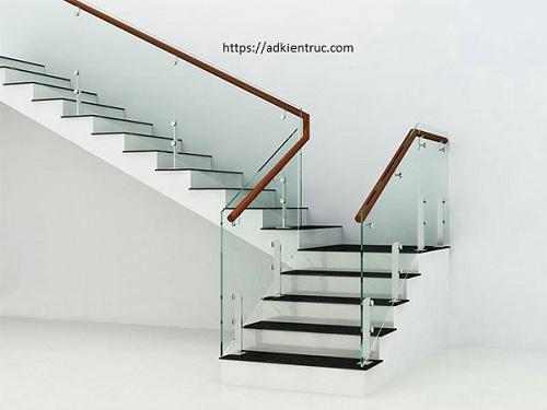 2/ Mẫu cầu thang vuông đẹp bằng kính