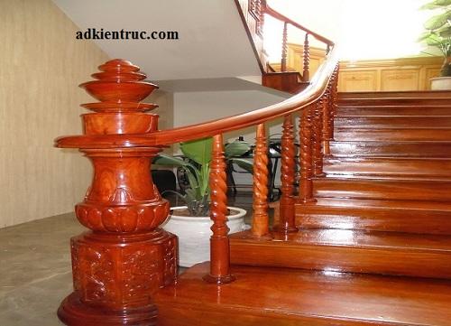 Các kiểu cầu thang gỗ trụ