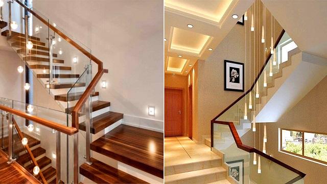 ý tưởng trang trí cầu thang bằng đèn