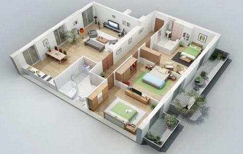 nhà mái thái 1 tầng 3 phòng ngủ