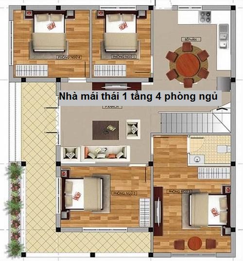 nhà mái thái 1 tầng 4 phòng ngủ