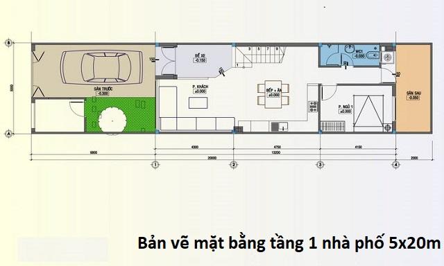 Bản vẽ mặt bằng tầng 1 nhà phố 5x20m tân cổ điển