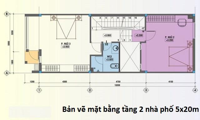 Bản vẽ mặt bằng tầng 2 nhà phố 5x20m tân cổ điển
