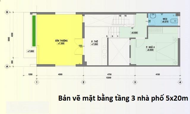Bản vẽ mặt bằng tầng 3 nhà phố 5x20m tân cổ điển