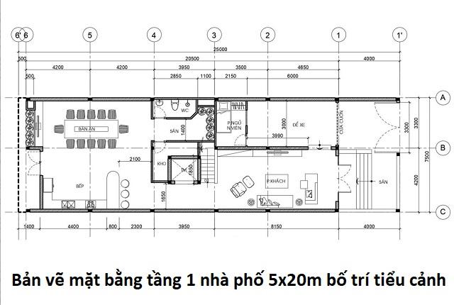 Bản vẽ mặt bằng tầng 1 nhà phố 5x20m bố trí tiểu cảnh