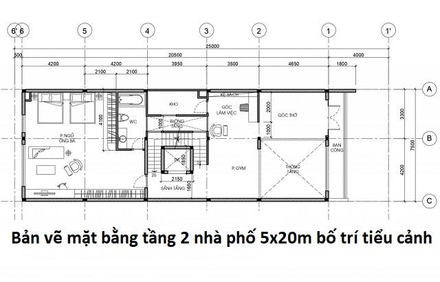 Bản vẽ mặt bằng tầng 2 nhà phố 5x20m bố trí tiểu cảnh