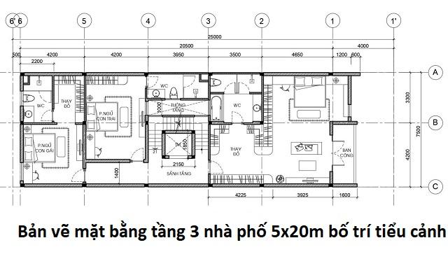 Bản vẽ mặt bằng tầng 3 nhà phố 5x20m bố trí tiểu cảnh