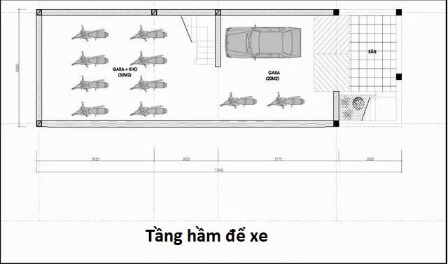 Bản vẽ tầng hầm để xe nhà phố 5x20m có hầm và tum hiện đại