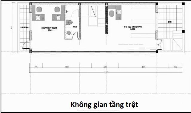 Bản vẽ không gian tầng trệt nhà phố 5x20m có hầm và tum hiện đại