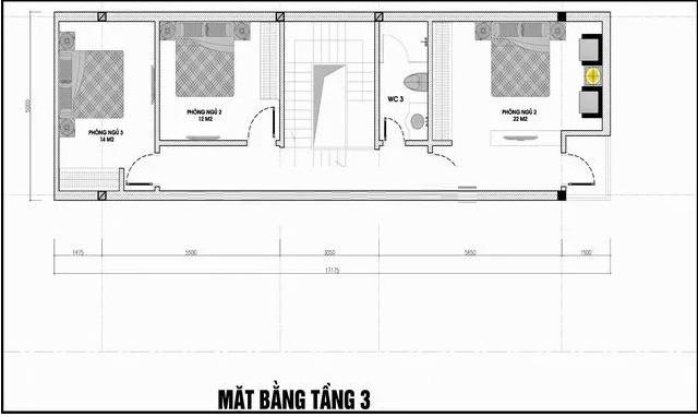 Bản vẽ mặt bằng tầng 3 nhà phố 5x20m có hầm và tum hiện đại