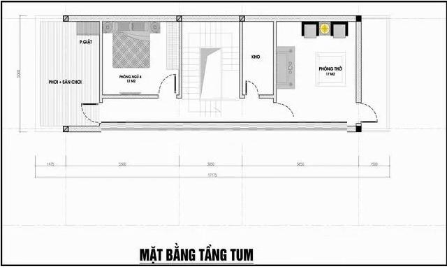 Bản vẽ mặt bằng có tum nhà 3 tầng 4 phòng ngủ 5×20