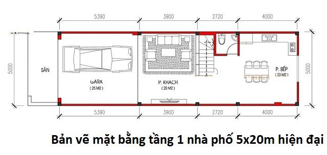Bản vẽ mặt bằng tầng 1 nhà phố 5x20m hiện đại