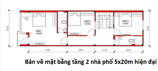 Bản vẽ mặt bằng tầng 2 nhà phố 5x20m hiện đại
