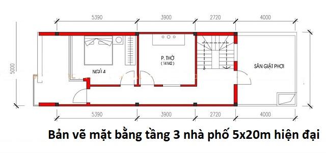 Bản vẽ mặt bằng tầng 3 nhà phố 5x20m hiện đại
