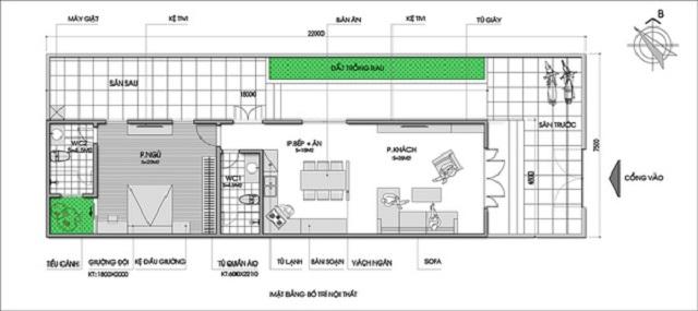 Bản vẽ thiết kế nhà 1 tầng 6×10