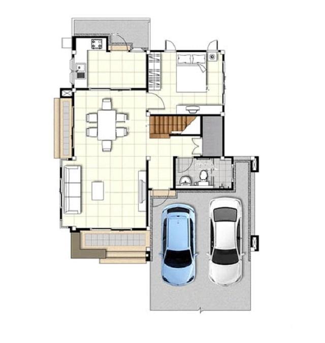 Bản vẽ thiết kế nhà 1 trệt 1 lầu diện tích 6x10m
