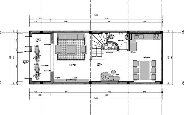 Bản vẽ thiết kế nhà 3 tầng diện tích 6x10m