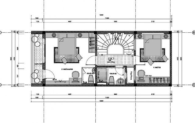 Bản vẽ thiết kế nhà 3 tầng diện tích 6x10m 2