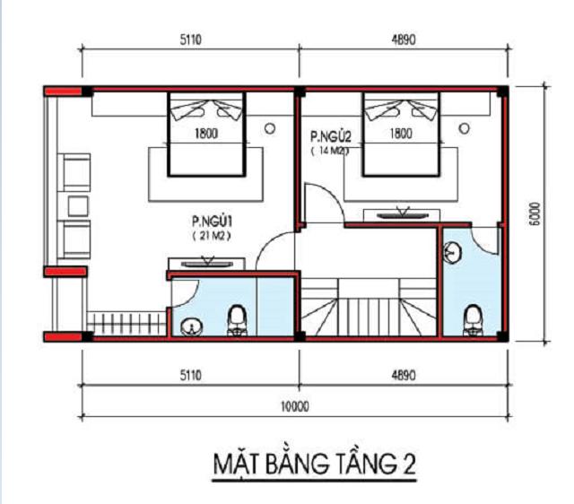Bản vẽ thiết kế nhà phố 4 tầng diện tích 6×10m 2
