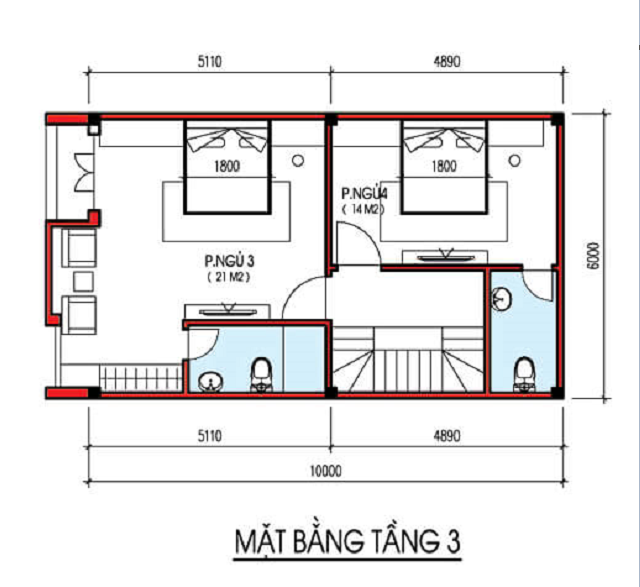 Bản vẽ thiết kế nhà phố 4 tầng diện tích 6×10m 3