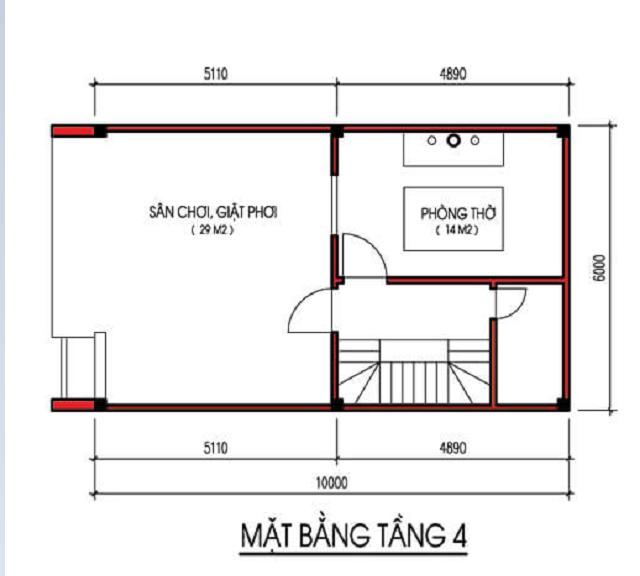 Bản vẽ thiết kế nhà phố 4 tầng diện tích 6×10m 4