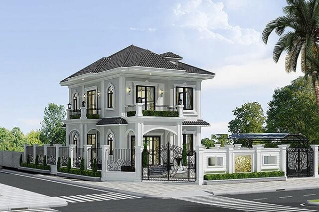 Biệt thự 2 tầng Pháp tân cổ điển mái thái