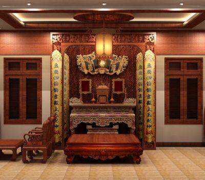 lưu ý trong thiết kế phòng khách có bàn thờ hợp phong thủy