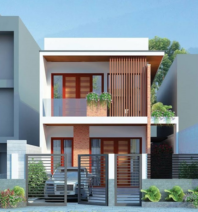 Mặt tiền thiết kế nhà 2 tầng ngang 6m dài 10m 2