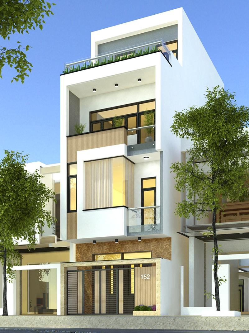 Mặt tiền thiết kế nhà ngang 6m dài 10m 4 tầng 2