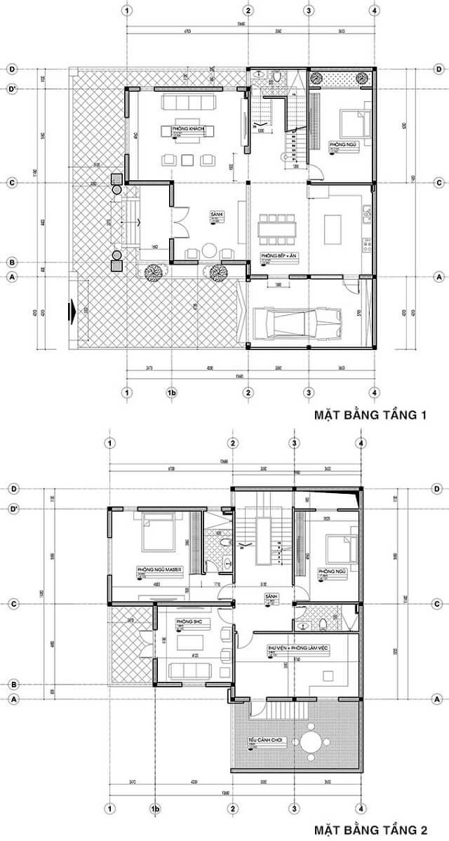 mẫu biệt thự 2 tầng kiểu Pháp cổ điển 2