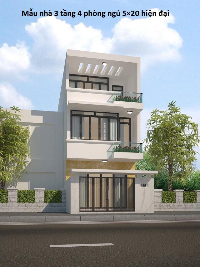Mẫu nhà 3 tầng 4 phòng ngủ 5×20 hiện đại