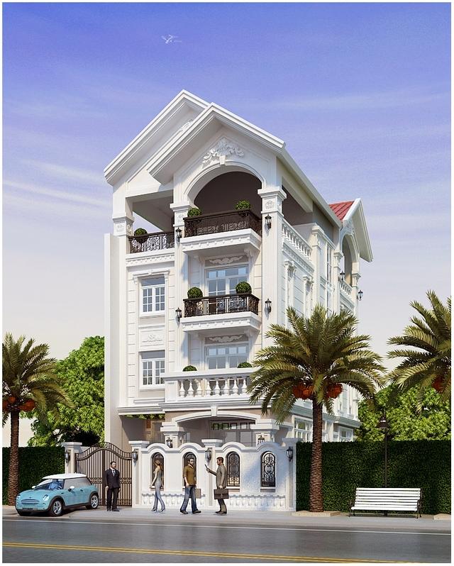 nhà phố chiều rộng 7m phong cách tân cổ điển