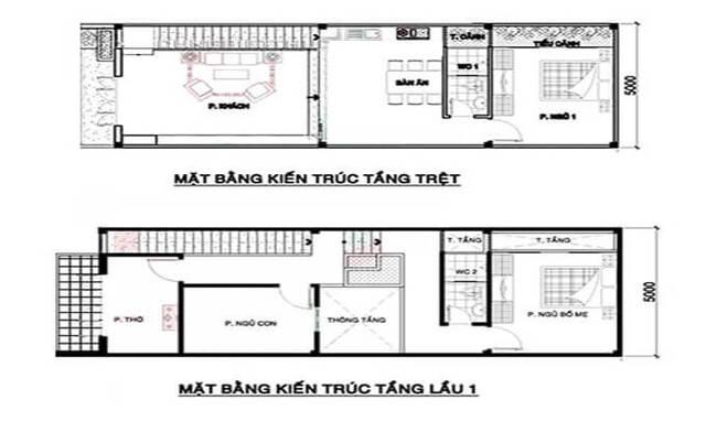 Mẫu thiết kế nhà ống 5x15m 2 tầng 3 phòng ngủ 2
