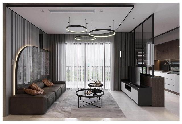 Mẫu thiết kế phòng khách liền bếp chung cư 1