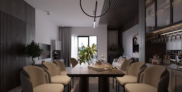 Mẫu thiết kế phòng khách liền bếp chung cư 3