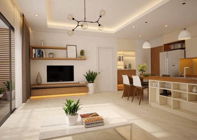 phối cảnh nội thất phòng khách đủ ánh sáng