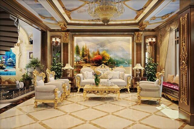 phối cảnh nội thất phòng khách biệt thự