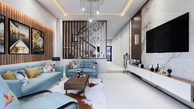 phối cảnh nội thất phòng khách có cầu thang
