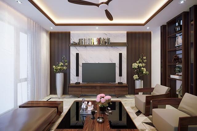 phối cảnh nội thất phòng khách có màu trầm ấm