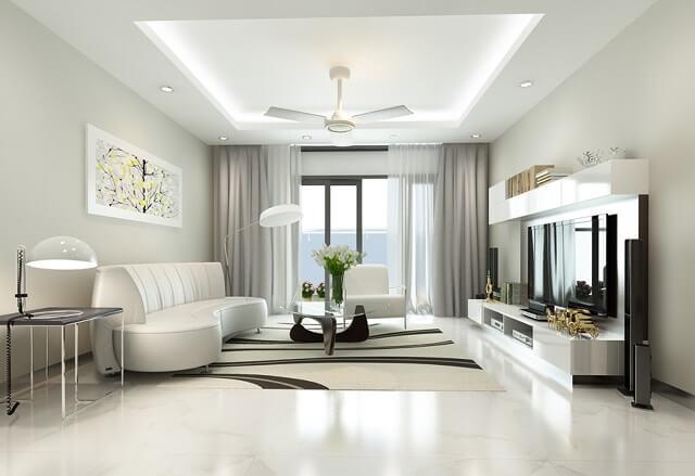phối cảnh nội thất phòng khách có màu tươi sáng