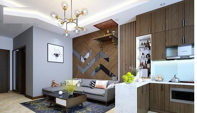 Thiết kế phòng khách có bàn thờ dạng treo