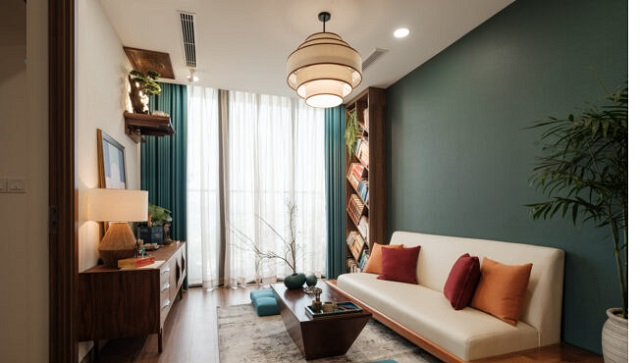 Thiết kế phòng khách có bàn thờ dạng treo 2
