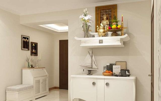 Thiết kế phòng khách có bàn thờ dạng treo 3