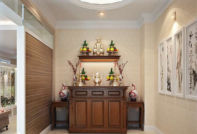 Thiết kế phòng khách có bàn thờ dạng treo 4