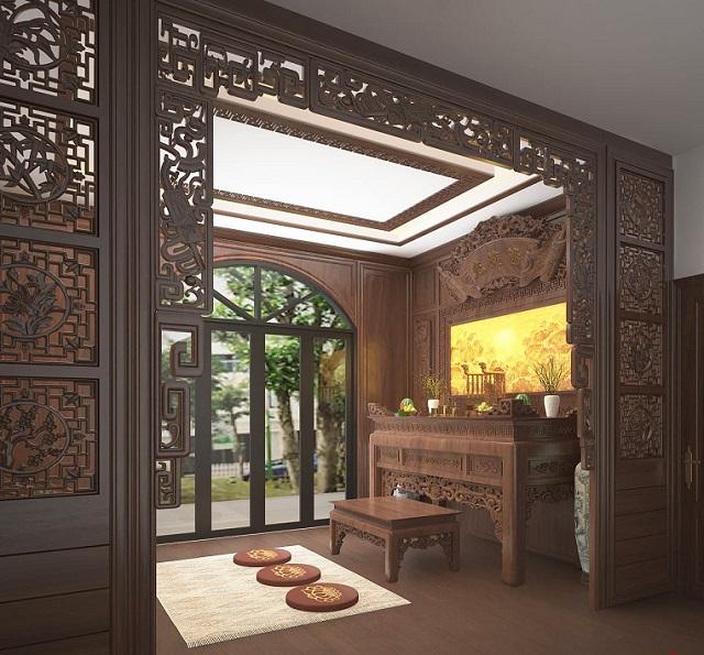 Thiết kế bàn thờ trong phòng khách có vách ngăn