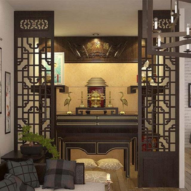 Thiết kế bàn thờ trong phòng khách có vách ngăn 2