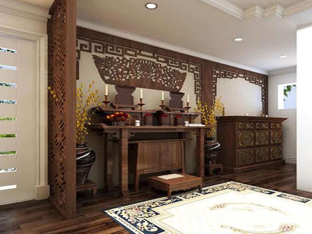 Thiết kế bàn thờ trong phòng khách có vách ngăn 3