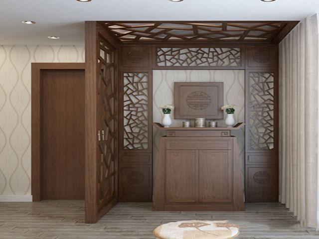 Thiết kế bàn thờ trong phòng khách có vách ngăn 4