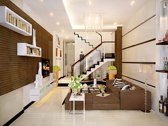 Mẫu thiết kế phòng khách liền bếp nhà ống 2