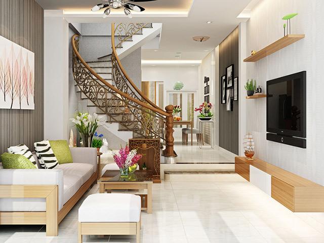 Mẫu thiết kế phòng khách liền bếp nhà ống 3